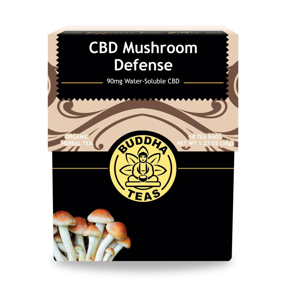 Buddha Teas - Mushroom Defense CBD Tea - Isolate Hemp Extract - 90mg 18ct