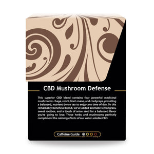 Buddha Teas CBD Mushroom Defense Tea box with Description and Caffeine Guide describing low Caffeine