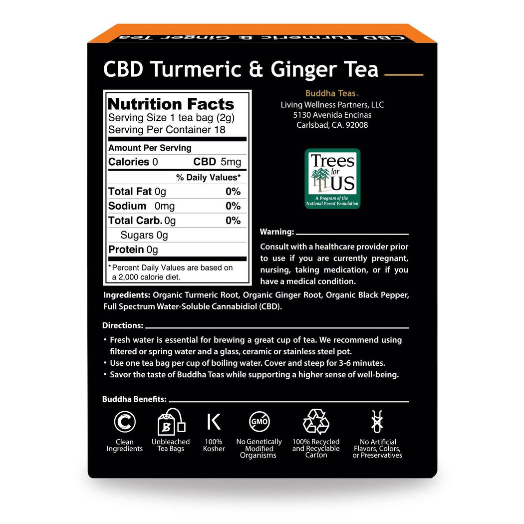 Buddha Teas CBD Turmeric Ginger Tea Back of Box Nutrition Facts, Warning, Ingredients, Directions, and emblems describing clean ingredients, unbleached tea bags, 100% kosher, NON-GMO, 100% Recycled Box, No Artificial Ingredients