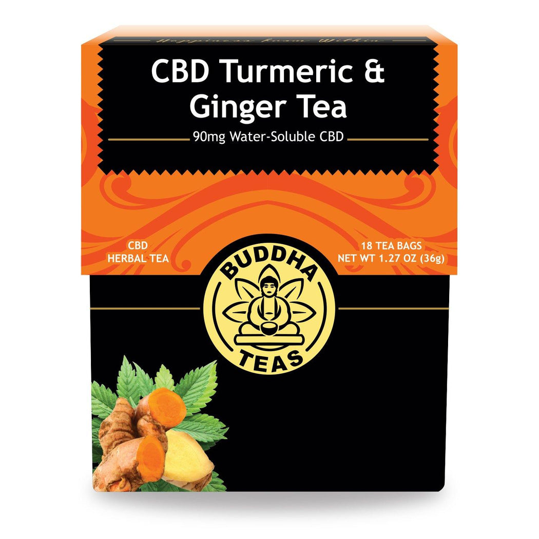 Buddha Teas CBD Turmeric Ginger Tea with text 90mg Water Soluble CBD 18 Tea Bags
