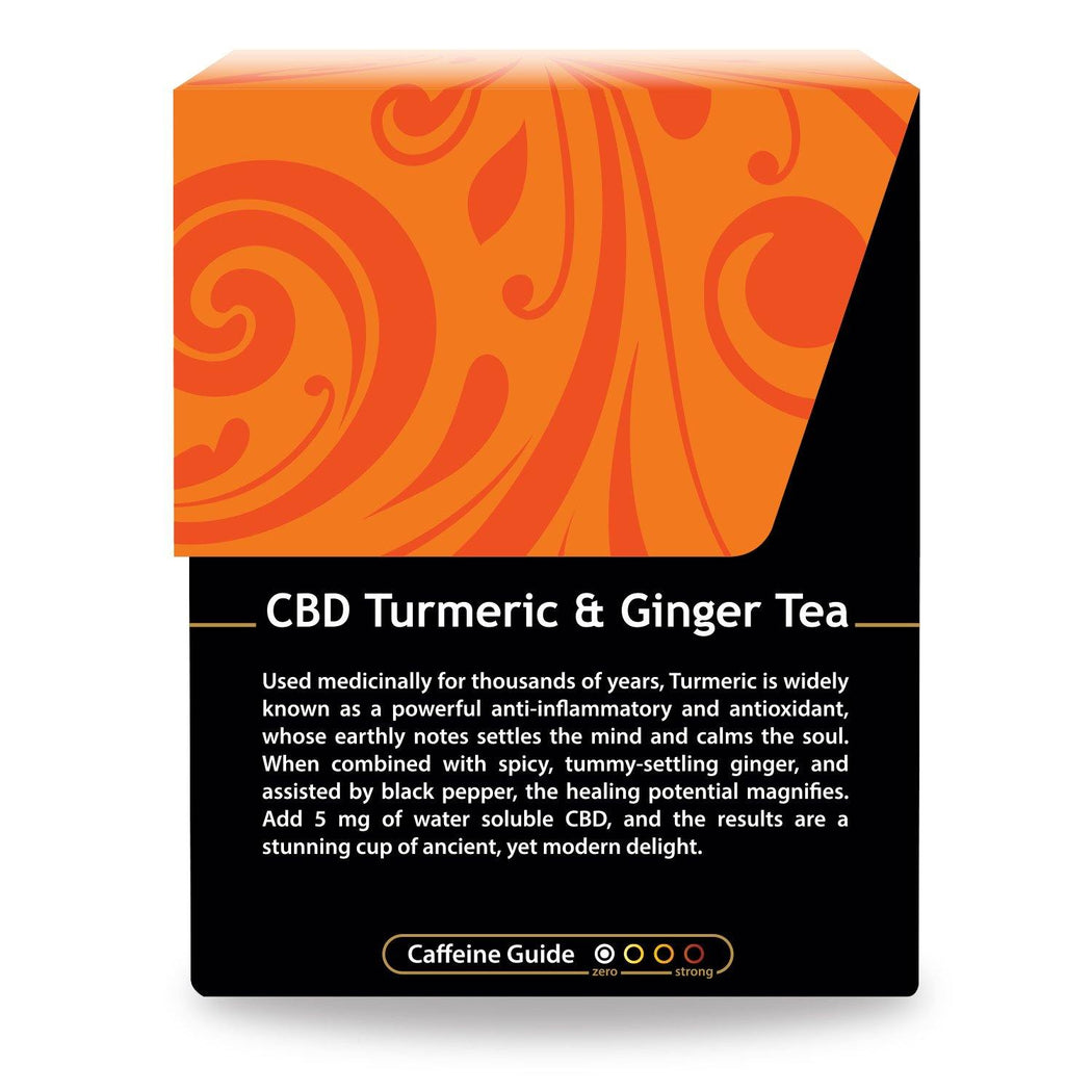 Buddha Teas CBD Turmeric Ginger Tea with description of Turmeric and a Chart Describing Low Caffeine Content