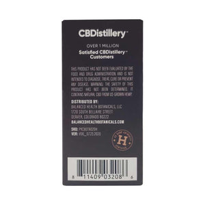 CBDistillery Pet Tincture 600mg/20mg per serving Box Back FDA Disclaimer and US Hemp Authority Seal