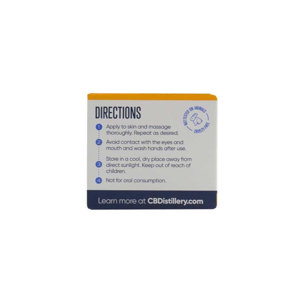 CBDistillery CBDol CBD Balm 500mg Box Side Showing Directions and Not Tested on Animals Cruelty Free