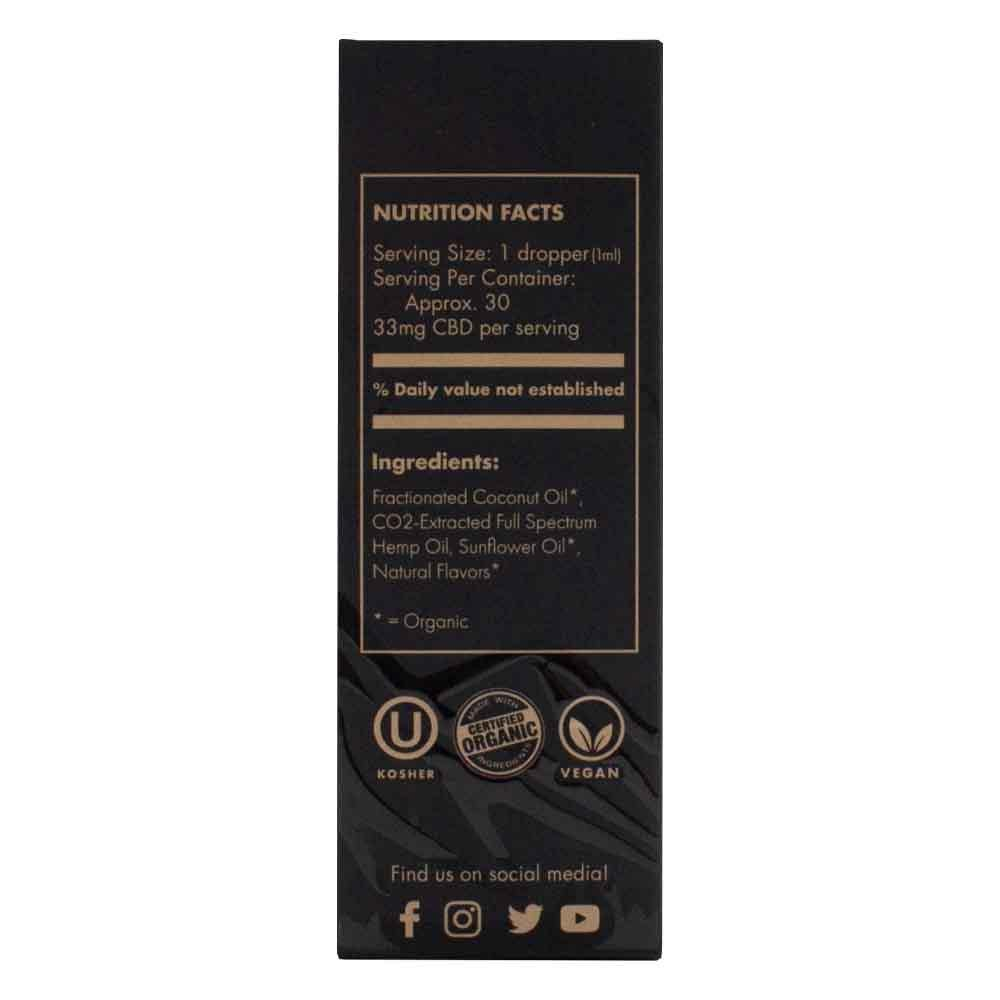 Extract Labs Tincture 1000mg Box Side with Nutrition Facts, Suggested Use, and Certified Organic Stamp