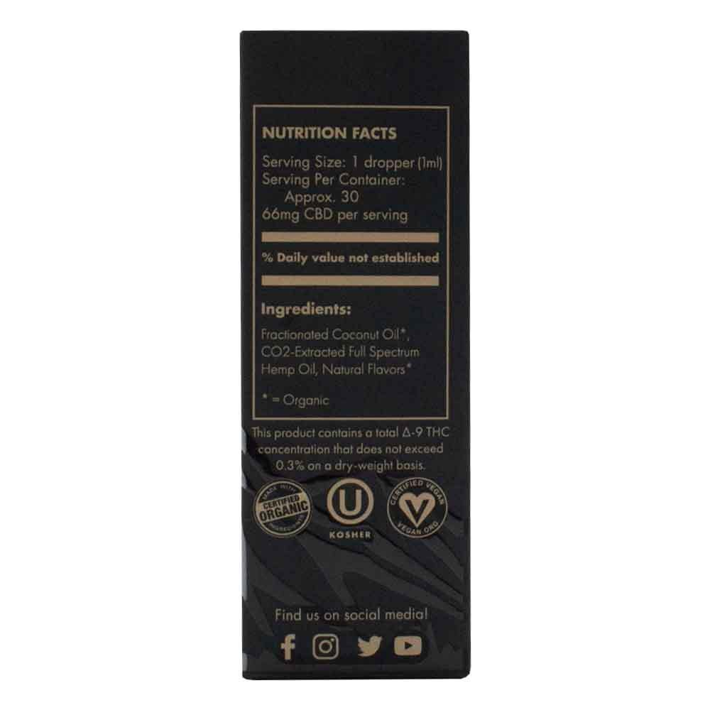 Extract Labs Tincture 2000mg Box Side with Nutrition Facts, Suggested Use, and Certified Organic Stamp