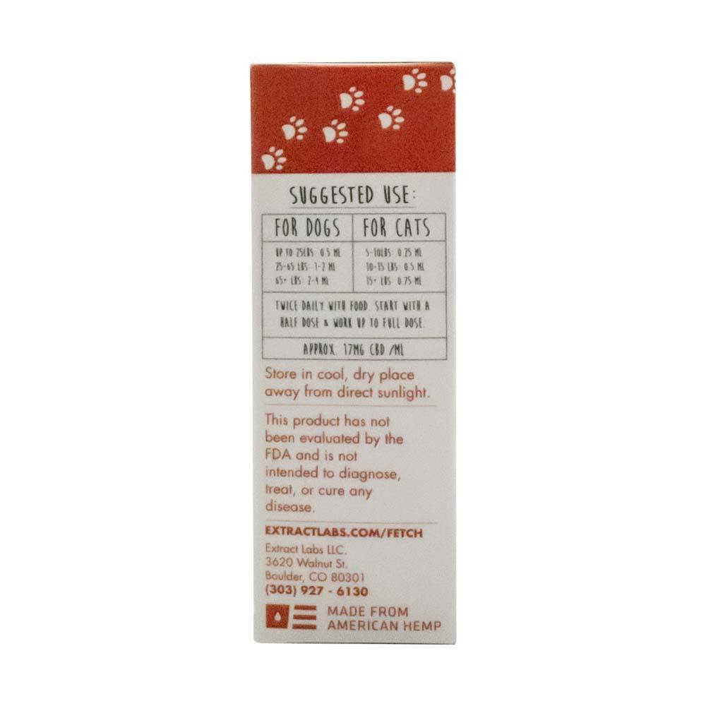 Fetch by Extract Labs 500mg Pet Hemp Tincture Box Side with Suggested Use