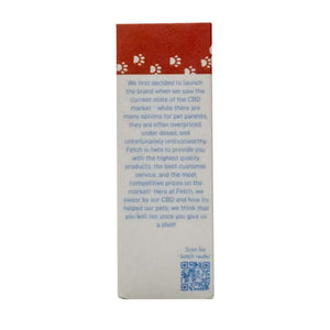 Fetch by Extract Labs 500mg Pet Hemp Tincture Box Side with QR Code and Fetch Story