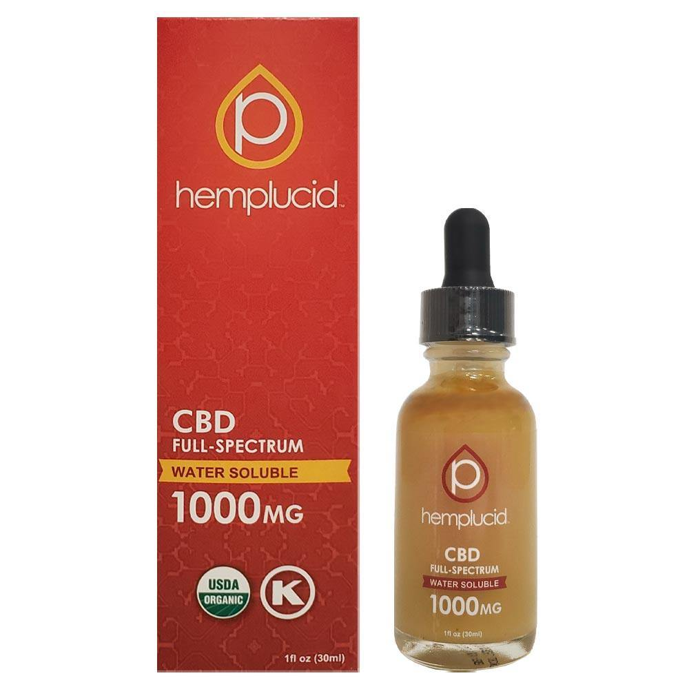 Hemplucid Full-Spectrum USDA Organic Water-Soluble CBD 1000mg Bottle and Box