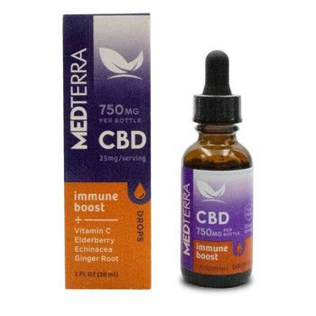 "Medterra Immune Boost CBD Tincture 750mg Bottle and Box with text ""Vitamin C, elderberry, Echinacea, Ginger Root"""
