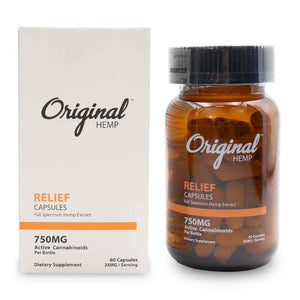 Original Hemp 750mg Relief Capsules Bottle and Box