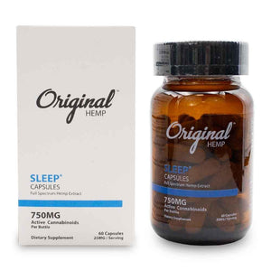 Load image into Gallery viewer, Original Hemp 750mg Sleep Capsules Bottle and Box