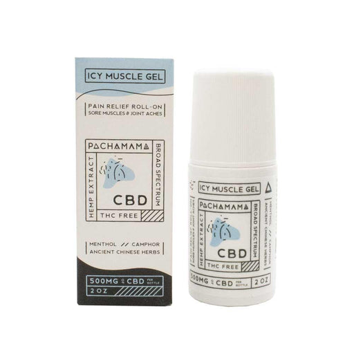 Pachamama Icy Muscle Gel Roll On 500mg of CBD 2oz Box and Roll-on Bottle