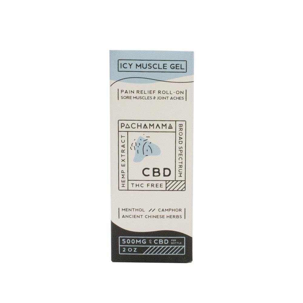 Pachamama Icy Muscle Gel Roll On 500mg of CBD 2oz Box Front
