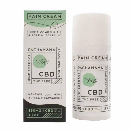 Pachamama Pain Cream 850mg of CBD 3.4oz Box and Bottle