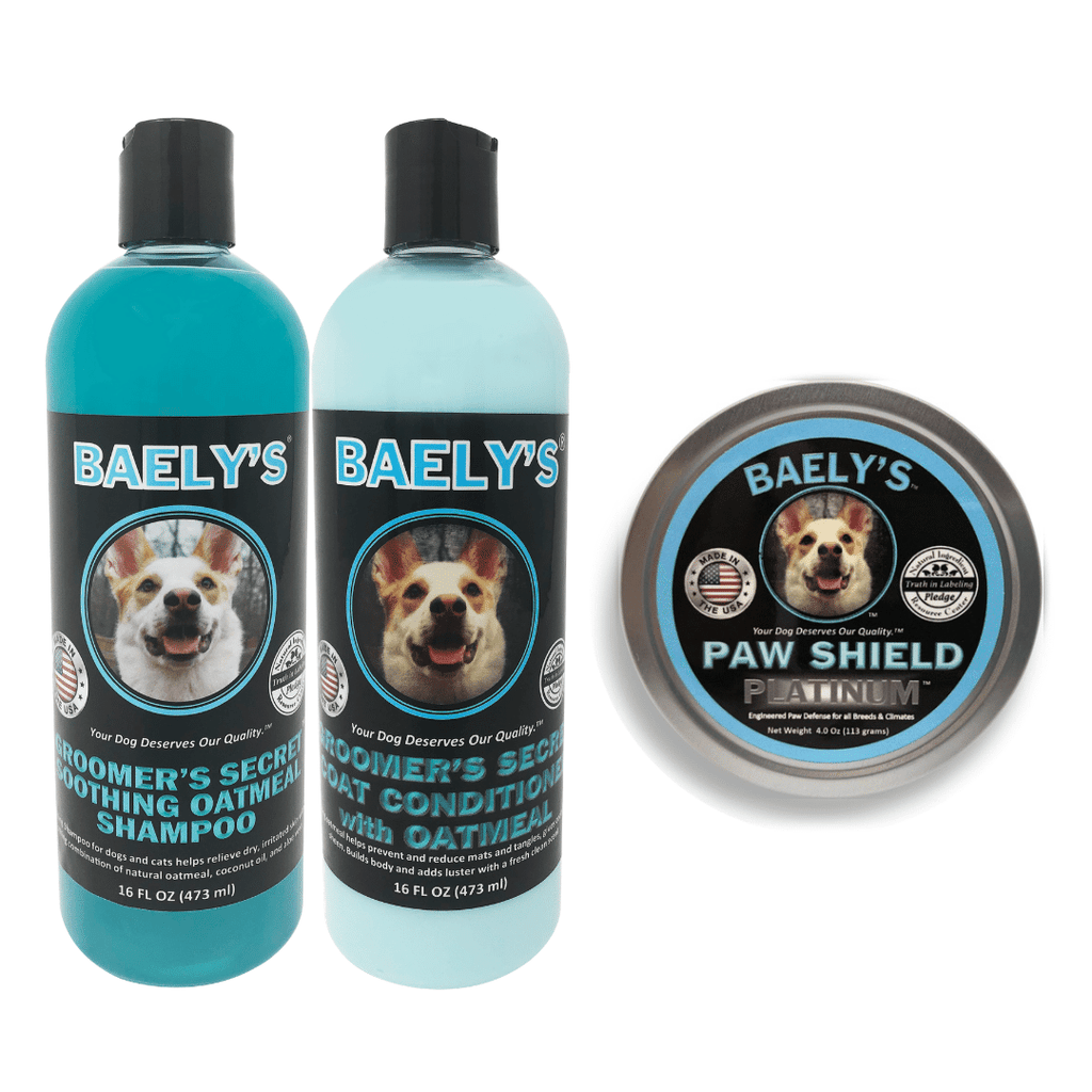 Baely's Paw Shield Dog Paw Balm and Groomer's Secret Dog Shampoo with Oatmeal & Dog Conditioner Bundle