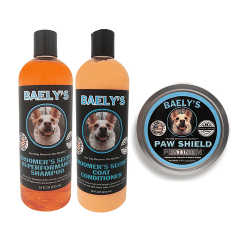 Image of Baely's Paw Shield Dog Paw Balm and Groomer's Secret Dog Shampoo & Dog Conditioner Bundle