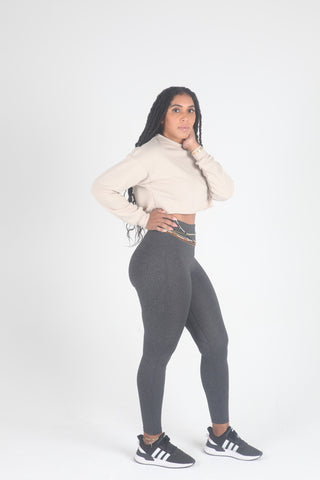 "Mama Cinch ""Ultimate Sculpt"" Yoga Pant: Heather gray"