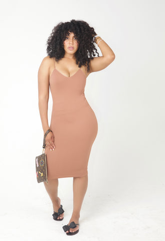 Ribbed Bodied Dress in Nude and Black