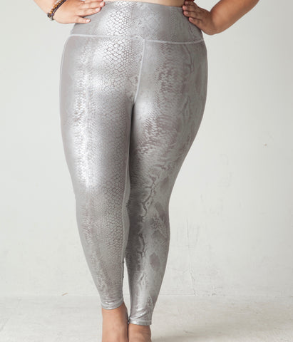 Silver Snakeskin High Waist Yoga Pants in Plus Size
