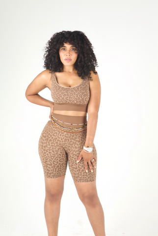 Cheetah Girl Seamless Short Set