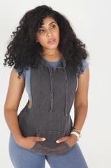 Net sleeveless hoodie with pocket in washed charcoal and white