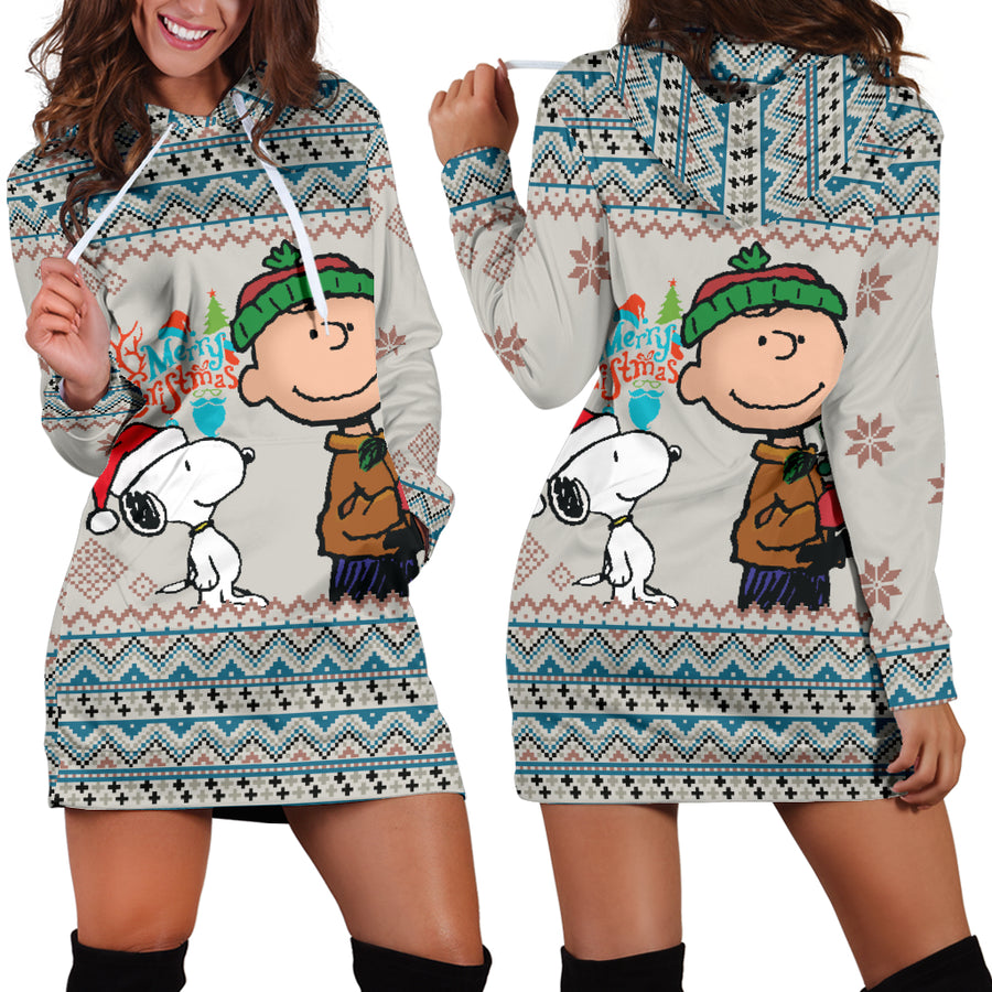 ebb35e65e02 Snoopy   Charlie Brown Merry Christmas Hoodie Dress