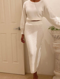 The Hannah Shania Winter White Knit Midi Skirt