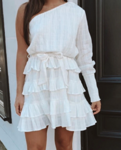 Hannah Shania Ivory Long Sleeve Ruffle Dress