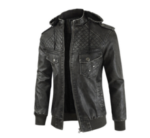 Men's hat leather jacket