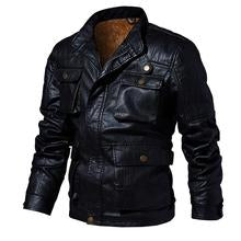 Men's warm multi-pocket leather jacket.