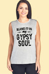 Blame It On My Gypsy Soul W Feather Muscle Tank - FashCity