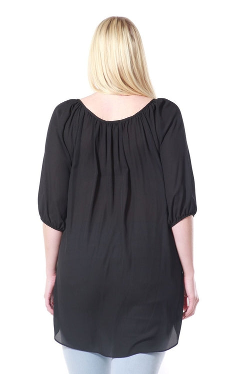 Chiffon Sequins Top Plus Size - FashCity