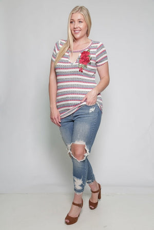 MULTI STRIPE FLOWER EMBROIDERY PLUS SIZE TOP - FashCity
