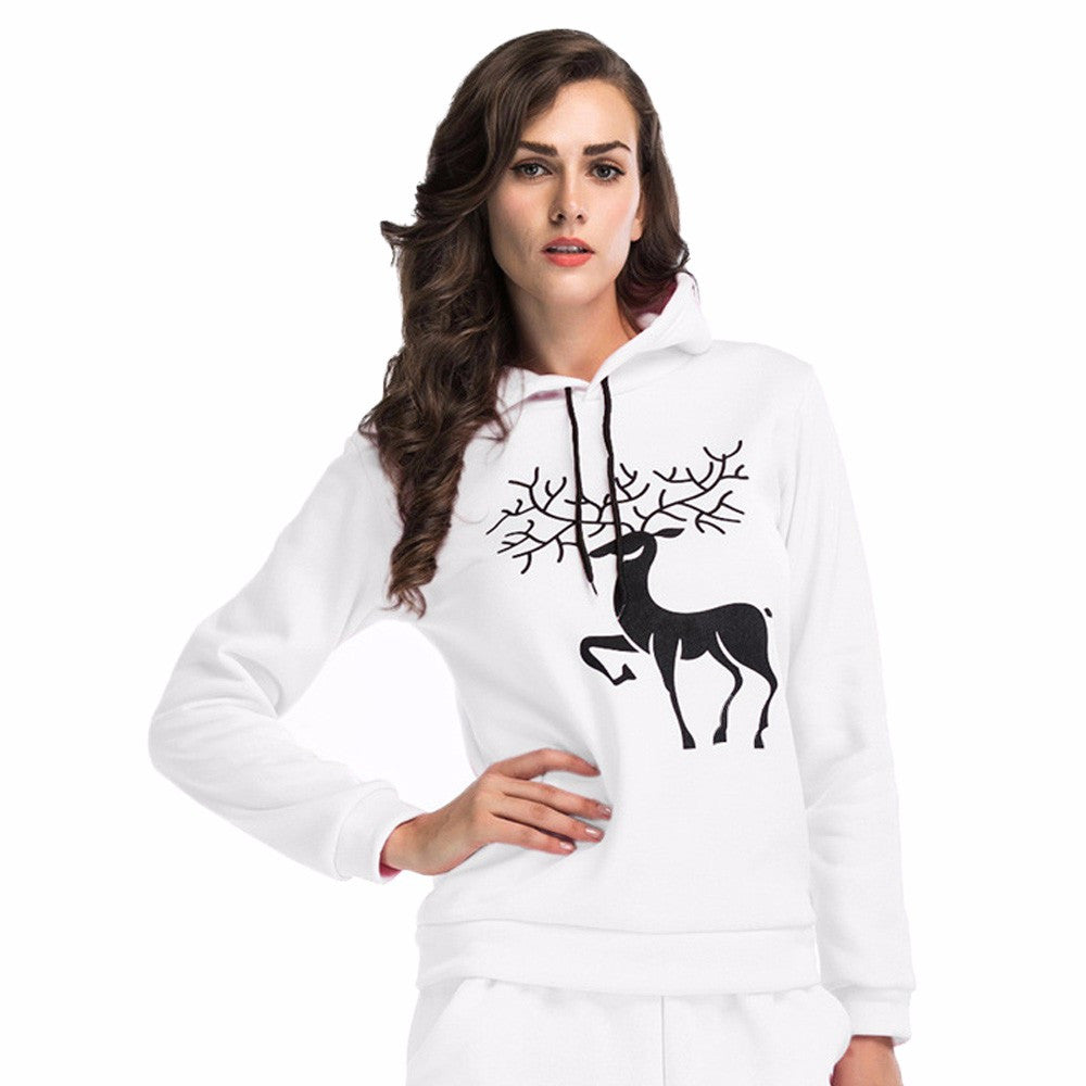 Women Printed  Christmas Deer Long Sleeve Hooded Loose Blouse Casual Tops - FashCity