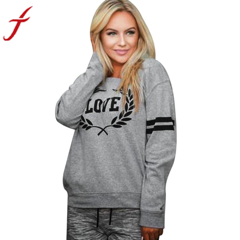 Autumn Sweatshirt 2017 New Arrival Womens Pullover Tops Casual Love Letters Printed Long Sleeve daily wearing Sweatshirts - FashCity