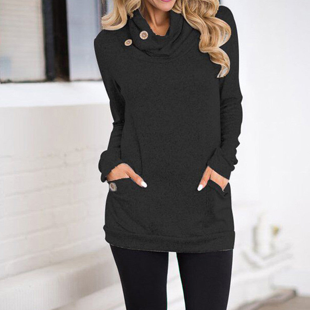 Women Cowl Neck Button Slim Long Sleeve Pockets Blouse Tops Sweatshirt - FashCity
