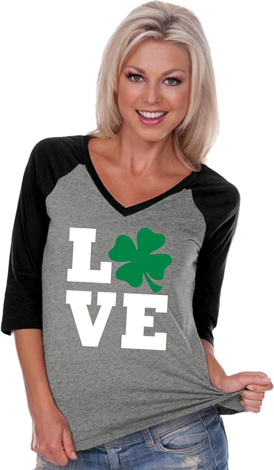 St Patty's Day Love Shamrock Ladies V-Neck Raglan Shirt - FashCity