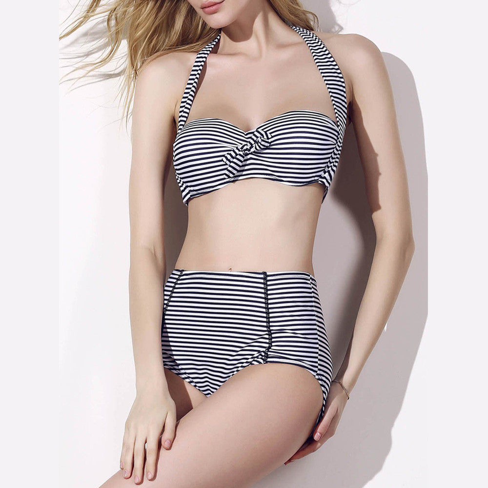 Halter Neck Striped High Waist Two-Piece Swimsuit - FashCity