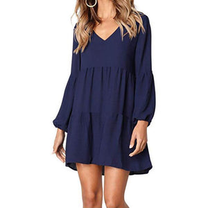 Fashion Women Solid Lantern Long Sleeve V-Neck Draped Knee-Length Dress - FashCity