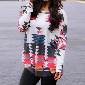 Fashion Womens Long Sleeve Printed Shirt O Neck Casual Tops Blouse - FashCity