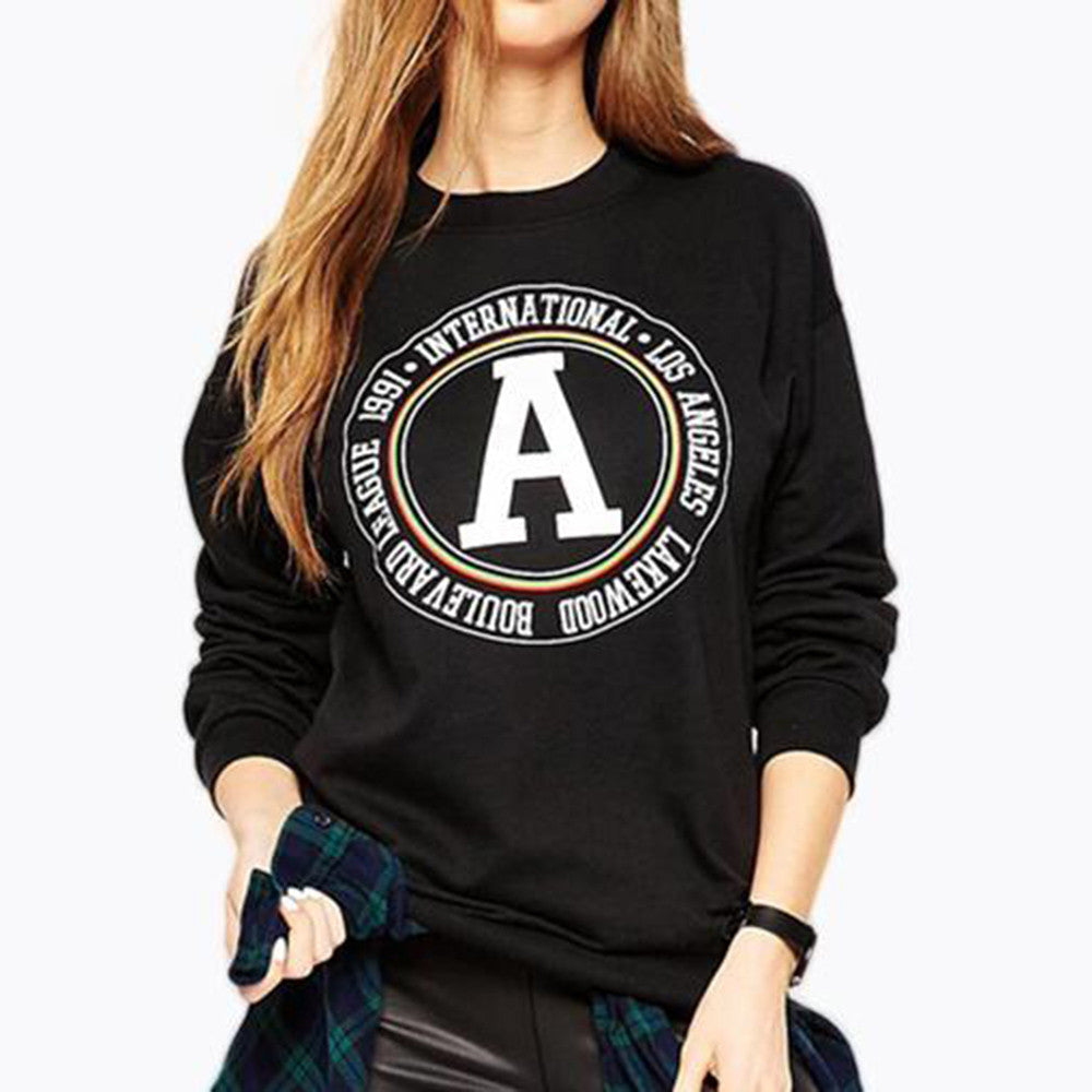 Women Casual Printed Letter Sweatshirt Long Sleeve Pullover Tops Blouse - FashCity