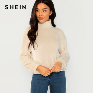SHEIN Apricot Modern Lady Elegant High Neck Faux Fur Belted Solid Pullover Sweatshirt Winter Minimalist Casual Women Sweatshirts - FashCity