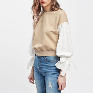 Women Long Sleeve Patchwork Drawstring Cuff Blouse Tops T-Shirt