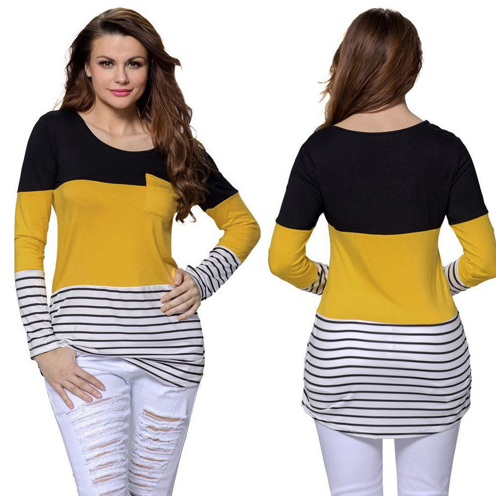 Women Casual Stitching Pullover O-Neck Long Sleeve Striped Tops Blouse - FashCity