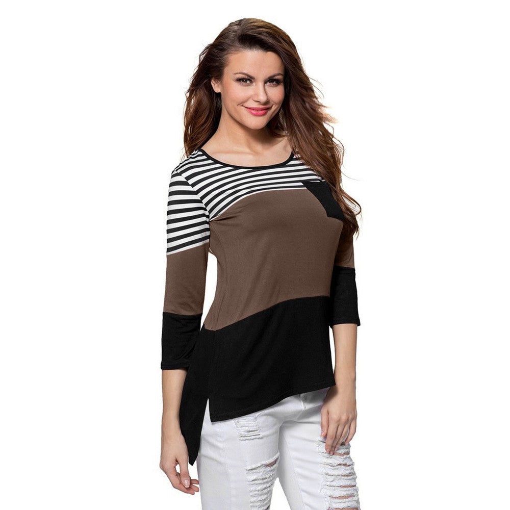 Women Casual Stitching Pullover O-Neck Long Sleeve Striped Tops Blouse