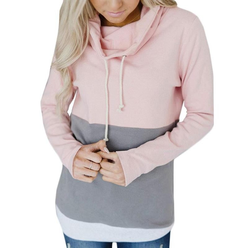 2018 Autumn and Winter New Fashion Women's Casual Long Sleeve Hooded Hat Color Hooded Sweatshirt Women's Pullover - FashCity