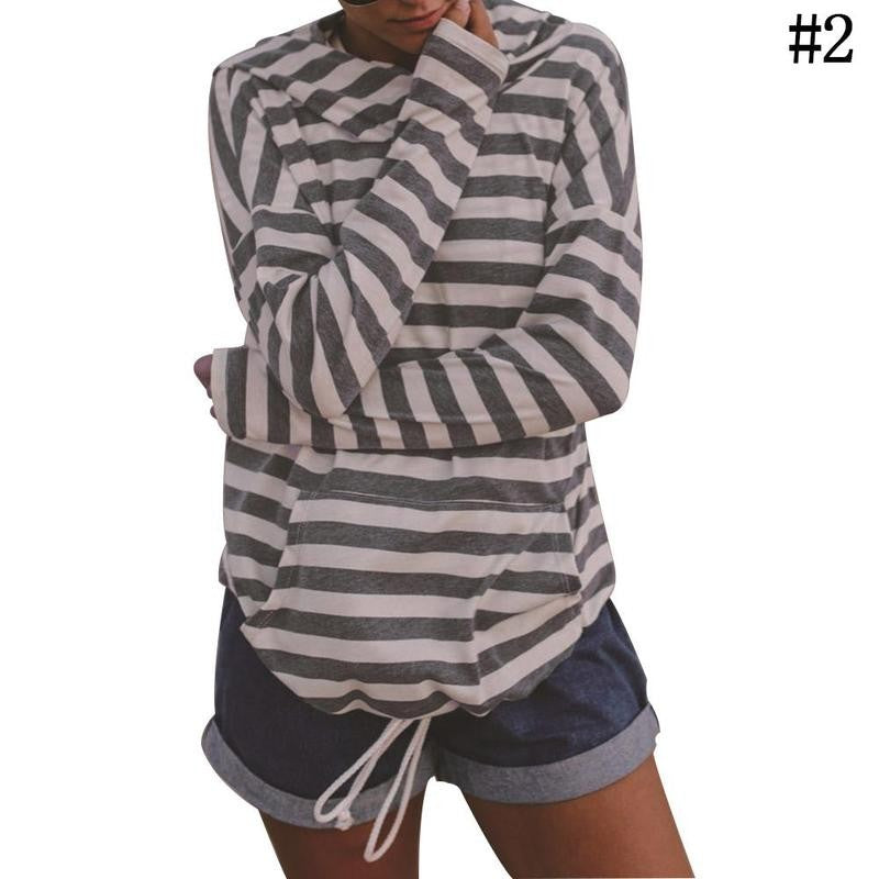 Fashion Women Winter Hooded Sweater Striped Long Sleeve Pullovers Sweaters Coat - FashCity