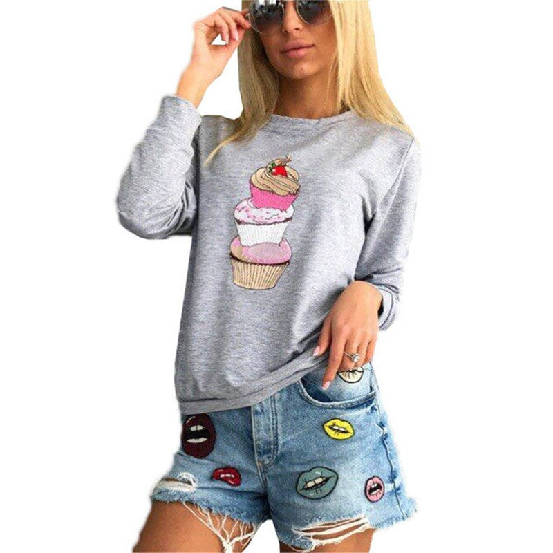3 Colors Women Fashion Cute Cupcakes Printed Long Sleeves Casual Shirt Tops Large Size - FashCity