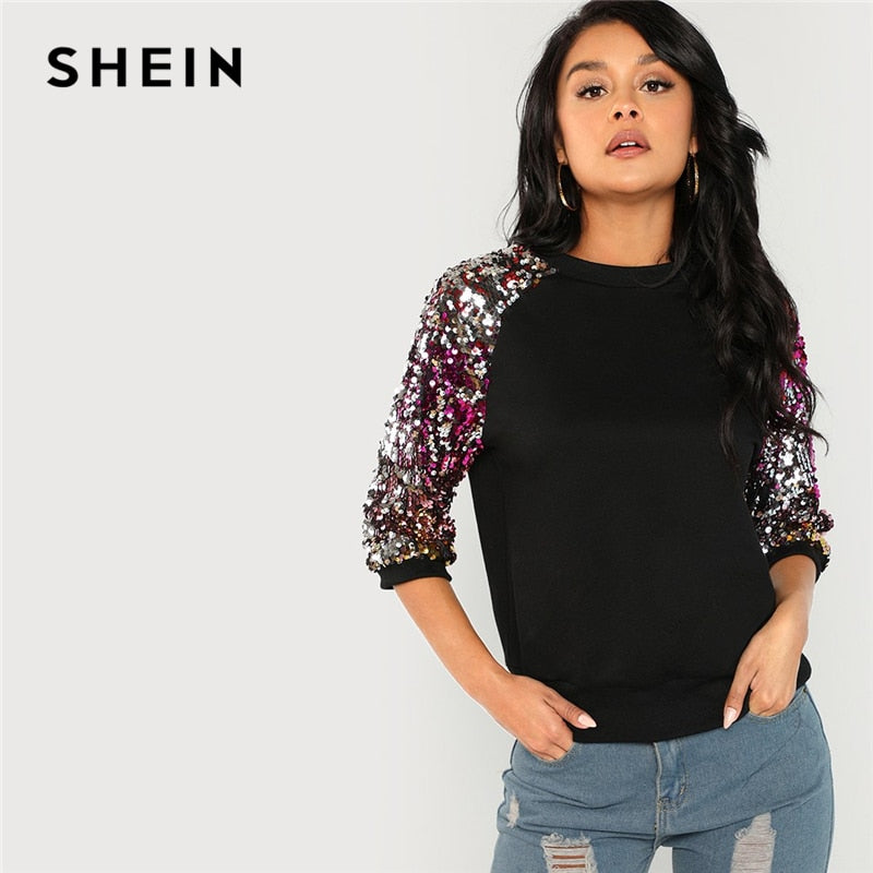 SHEIN Black Highstreet Sequin Colorblock 3/4 Length Raglan Sleeve Streetwear - FashCity