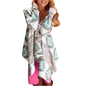 Womens Long Sleeve Irregular Stripe Cardigan Printing Tops Cardigan - FashCity